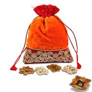 Zari work Velvety Dry fruit Pouch and Diwali Hamper_DMB23