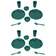 Kitchen Duniya Round Dinner Set 16 Pcs-Bottle Green