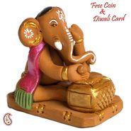 Aapno Rajasthan Multicolor Terracotta Sitting & Book Reading Ganesh Showpiece