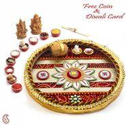 Beautiful Red Shade Diwali Pooja Thali