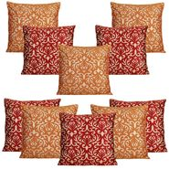 Dekor World Golden Printed Combo. Cushion Cover (Pack of 10)-DWCB-207-12