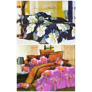 Set of 2 Floral 3D Printed Bedsheet with 4 Pillow Covers-DWCB-409_30