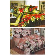 Set of 2 Floral 3D Printed Bedsheet with 4 Pillow Covers-DWCB-470_72