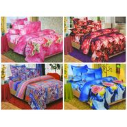 Set of 4 Floral 3D Printed Bedsheet with 8 Pillow Covers-DWCB-474_76_75_73