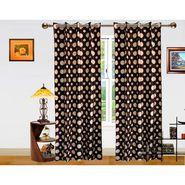 DEKOR WORLD  BROWN DOT  EYELET Window Curtain 2 SET-DWCT-296-5