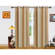 Beige Stripe Pattern  Eyelet Window Curtain-Pack Of 2 -DWCT-374-5