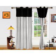 DEKOR WORLD Plain Black Silver Eyelet Window Curtain Combo.-Set of 2 -DWCT-409-5