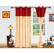 DEKOR WORLD Plain Maroon Beige Eyelet Window Curtain Combo.-Set of 2 -DWCT-410-5