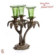 Aapno Rajasthan Palm Tree Design Silver Metal Finish Candle bar with Green Glass Holder