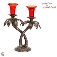 Palm Tree Design Oxidized Metal Finish Dual Candle Holder with Red Glass