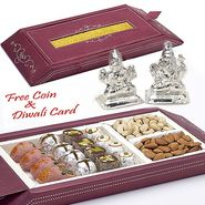 Aapno Rajasthan Gift Box with Assorted Kaju Sweets and Laxmi Ganesh Idols