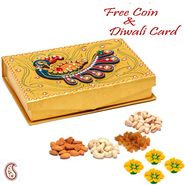 Aapno Rajasthan Gold Handcrafted Multipurpose Wood and Clay Work Box