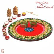Aapno Rajasthan Traditional Aarti thali crafted in Wood with clay and paint work