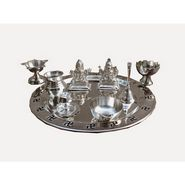 Dekor World laxmi Ganesha Thali-Set of 9 Pcs-Silver