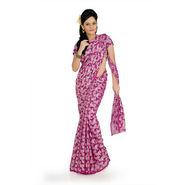 Designersareez georgette jacquard saree with blouse - Deep Magenta-725