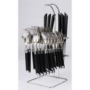 Elegante Expression 24Pcs Cutlery Set with Stand - Black