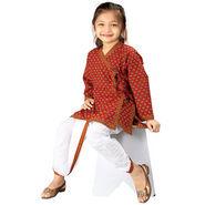 Little India Ethnic Bagru Design Cotton Dhoti Angarkha Set - DLI3KED205A