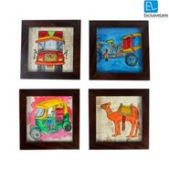 Set of 4 Exclusivelane Canvas Handpainted Coasters - Red