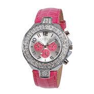 Exotica Fashions Wrist Watch - Fuchsia & Silver