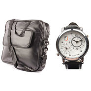 Fidato Laptop Bag + Fidato Men's Dual Time Watch