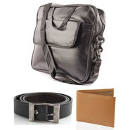 Fidato Laptop Bag + Fidato Black Belt + Fidato Tan Leatherite Wallet