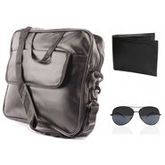 Fidato Laptop Bag + Fidato Black Aviator + Fidato Black Leather Wallet