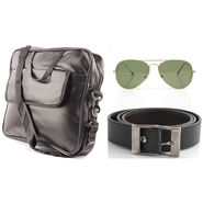 Fidato Laptop Bag + Fidato Black Belt + Fidato Golden Aviator
