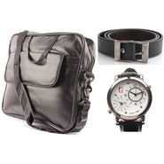 Fidato Laptop Bag + Fidato Black Belt + Fidato Men's Dual Time Watch