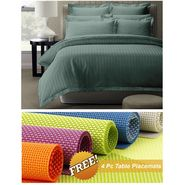 Storyathome Grey Satin Stripes King Size 1 Bedsheet + 2 Pillow Cover -FE2064_TT
