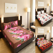 Set of 3 3D Double Bedsheet With 6 Pillow Covers