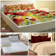 Storyathome Combo Of 100% Cotton 1pc Double Bedsheet, 1pc  3D Bed Sheet And 1pc Mattress Protector -FS_1206-PC1401-MPR1402
