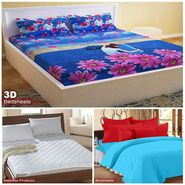 Storyathome Combo Of 100% Cotton 1pc Double Bedsheet, 1pc  3D Bed Sheet And 1pc Mattress Protector -FS_1209-PC1409-MPR1402