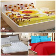 Storyathome Combo Of 100% Cotton 1pc Double Bedsheet, 1pc  3D Bed Sheet And 1pc Mattress Protector -FS_1210-PC1410-MPR1402