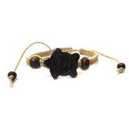 Fengshui Turtle Bracelet Symbol Of Longevity, Health And Wealth - Black & Cream