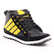 Foot n Style Faux Leather Casual Shoes  FS311 - Black & Yellow