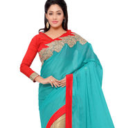 Indian Women Moss Chiffon Printed Saree -GA20111