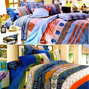 Valtellina Multicolor Design Print 2 Double bedsheet & 4 Pillow covers-GLO-02-04