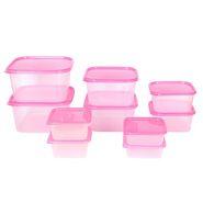 Gluman 10 Pcs Set of Plastic Kitchen Storage Container Box - Sigma Pink C2
