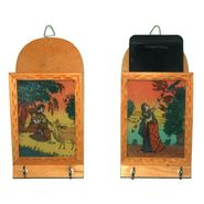 GRJ India Set of 2 Traditional & Rear Gemstone Painted Wooden Magazine and Key Hanger- SH-2-MKH2