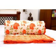 GRJ Single Cotton Designer Printed Quilt/ Razai in Mogul design - Orange / Olive-MultiColour
