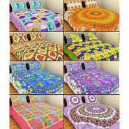 GRJ India Pure Cotton Multi Colour 8 Double BedSheet With 16 Pillow Covers-GRJ-8DB-69PK-68BL-67GRN-70PL-72GR-73BR-71PL-68PL