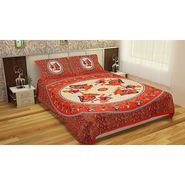 GRJ India Gold Print Double Bed Sheets with 2 Matching Pillow Covers-GRJ-DB-728