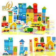 62 Pcs Colorful Wooden City Blocks Puzzle Learning Game For Toddlers