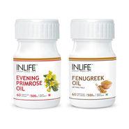 INLIFE Women's Health Combo Pack Of  Evening Primrose & Fenugreek Seed Oil Caps