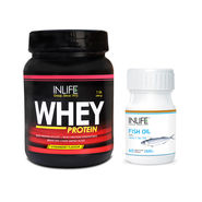 INLIFE Muscle Health Combo Pack Of  Whey Protein 1Lb (Chocolate) & Fish Oil Caps.