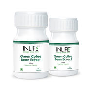 INLIFE Green Coffee Bean Extract 2 Pack 60 Veg Capsules Each  50% Chlorogenic Acid