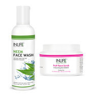 INLIFE Face Care Combo Pack - Neem Face Wash & Fruit Face Scrub For Acne Control