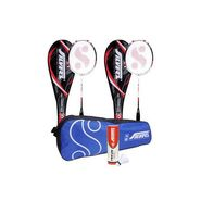 Silver's Pack Of 2 Ion Badminton Racquets With Full Covers + Pack Of 6 Pro-270 Nylon Shuttlecock White & 1 Kitbag