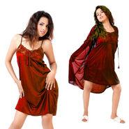 Ishin Satin 2 Piece Nightwear (Red) - SULDR 14105 A