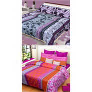 Set of 2 IWS Cotton Printed Double Bedsheet with 4 Pillow Covers-CB1267